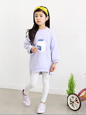 Girl's Casual/Daily Solid Hoodie & Sweatshirt,Cotton / Polyester Spring / Fall Pink / Purple