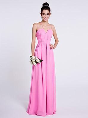 Lanting Bride® עד הריצפה שיפון שמלה לשושבינה - מעטפת \ עמוד רצועות ספגטי עם תד נשפך / סלסולים