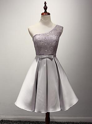 Ke kolenům Taft Šaty pro družičky - A-Linie Jedno rameno s Šerpa / Stuha
