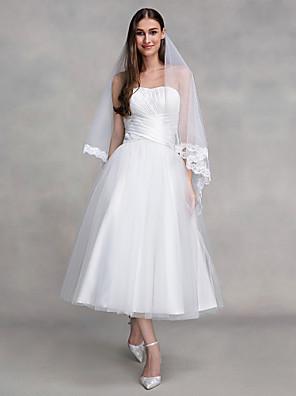 Lanting Bride® Linha A Vestido de Noiva Até o Tornozelo Tomara que Caia Tule com Cruzado