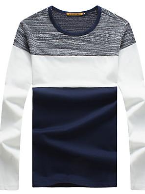 Patchwork-Informeel / Sport / Grote maten-Heren-Katoen-T-shirt-Lange mouw Blauw / Wit / Grijs