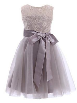 2017 plesové šaty čaj délka květin šaty - krajka / tyl bez rukávů šperk s lukem (y) / krajka / křídla / stuha