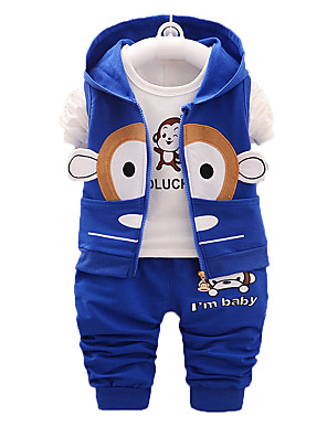 Boy's Print Clothing Set,Cotton Fall Blue / Red / Gray