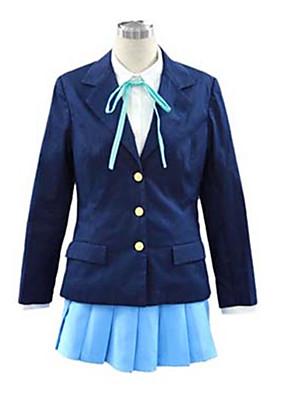 קיבל השראה מ K-ON Hirasawa Yui אנימה תחפושות קוספליי חליפות קוספליי / תלבושות לבית הספר אחיד כחול שרוולים ארוכיםמעיל / חולצה / חצאית /