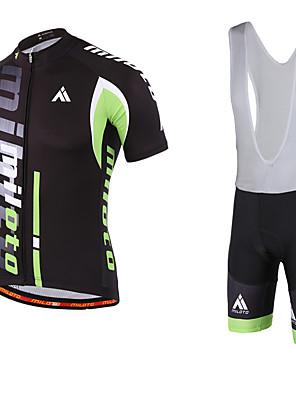 Miloto® חולצת ג'רסי ומכנס קצר ביב לרכיבה לגברים שרוול קצר אופניים נושם / ייבוש מהיר / חדירות ללחות / רוכסן YKK / תומך זיעהמכנסיים קצרים