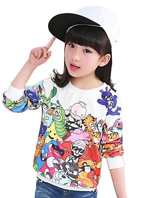 Girl's Cotton Spring/Autumn Fashion Cartoon Print Long Sleeve Round Neck Sweatshirt Blouse Casual/Daily Clothes