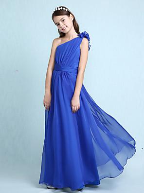 Lanting Bride® Na zem Šifón Šaty pro malou družičku A-Linie / Princess Jedno rameno Přirozený s Volánky / Šerpa / Stuha / Boční řasení