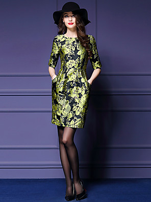 סתיו פוליאסטר ירוק אורך חצי שרוול מעל הברך צווארון עגול דפוס סגנון רחוב ליציאה / מידות גדולות שמלה נדן נשים,גיזרה בינונית (אמצע)