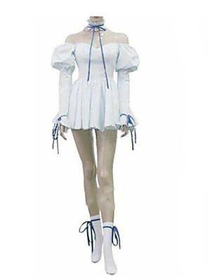 Inspirovaný Chobits Chii Anime Cosplay kostýmy Cosplay šaty / Šaty Jednobarevné Biały Dlouhé rukávy K šatům / Kravata
