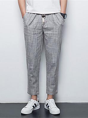 Men's Solid Casual Sweatpants,Linen Silver / Beige / Gray