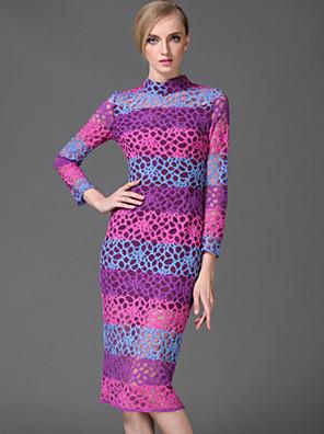 stephanie női kiment vintage köpeny dressstriped / geometriai állvány térdig érő, hosszú ujjú lila