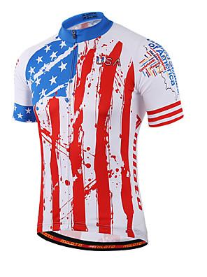 Miloto® חולצת ג'רסי לרכיבה לנשים / לגברים / לילדים / יוניסקס שרוול קצר אופנייםנושם / ייבוש מהיר / רוכסן קדמי / רוכסן YKK / רצועות מחזירי