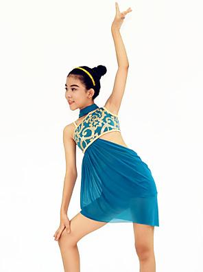 ריקוד לטיני תלבושות בגדי ריקוד נשים / בגדי ריקוד ילדים ביצועים ספנדקס / נצנצים נצנצים / צד עטויים 4 חלקים בלי שרוולים גבוהשמלות / אביזרים