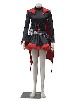 Inspirado por RWBY Ruby Anime Fantasias de Cosplay Ternos de Cosplay Cor Única Preto / Vermelho Manga Comprida Vestido