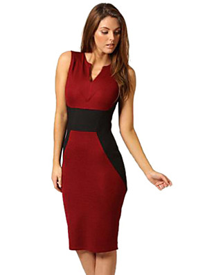 Women's V Neck Splicing Red Pencil Dress