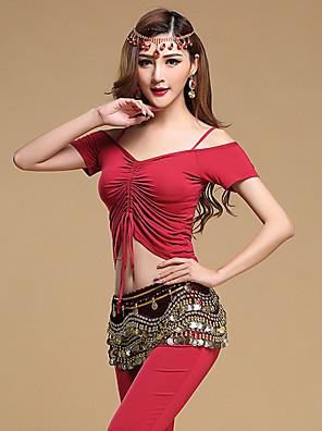 Dança do Ventre Roupa Mulheres Treino Modal Moedas de Ouro / Pano 3 Peças Manga Curta Natural Calças / Top / CintoTop M:49cm/L:51cm,Pant