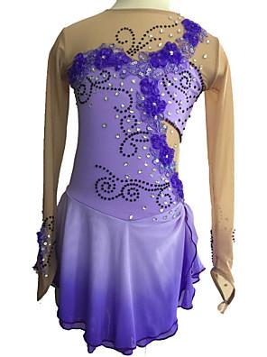 Eiskunstlaufkleider Damen Langärmelige Eislaufen Kleider Hochelastisch Eiskunstlauf-Kleid Elastan Purpur EiskunstlaufkleidungOutdoor