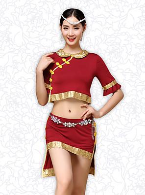ריקוד בטן תלבושות בגדי ריקוד נשים אימון מודאלי כפתורים / דפוס / הדפסה / קפלים 2 חלקים שרוול קצר נפול עליון / חצאיתtop M/L:35cm(13.78in)