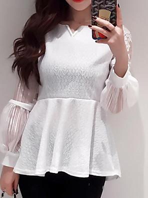 אחיד / סרוג צווארון V פשוטה יום יומי\קז'ואל חולצה נשים,קיץ שרוול ארוך לבן / שחור דק כותנה / חוטי זהורית