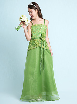 Lanting Bride® Na zem Organza / Satén Šaty pro malou družičku A-Linie / Princess Špagetová ramínka Přirozený sKorálky / Květina(y) /