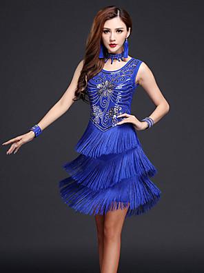 ריקוד לטיני שמלות בגדי ריקוד נשים ביצועים Chinlon / מילק פייבר נצנצים / גדיל (ים) 4 חלקים בלי שרוולים גבוה שמלות / Neckwear / צמיד 90-94cm