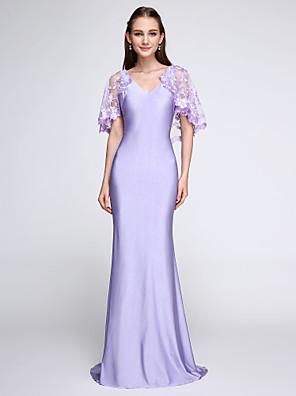 2017 Lanting bride® sweep / kartáč vlak dres zábal zahrnuty družička šaty - trubku / mořská panna výstřih do V s krajkou