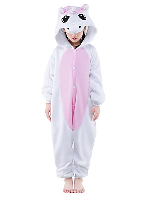 Kigurumi Pajamas New Cosplay® / Unicorn Leotard/Onesie Festival/Holiday Animal Sleepwear Halloween Pink Patchwork Polar Fleece Kigurumi