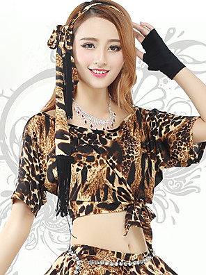 Dança do Ventre Fundos Mulheres Treino Elastano Leopardo 1 Peça Manga Curta Natural Saia 36cm