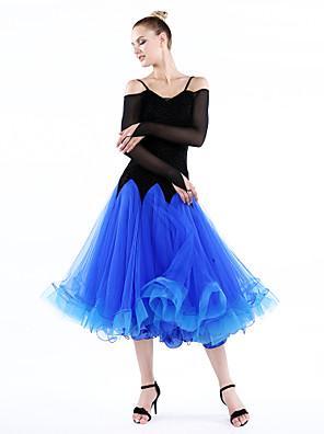 Fantasias Vestidos Mulheres Actuação / Treino Tule / Veludo / Fibra de Leite Amarrotado 1 Peça Manga Comprida VestidosS:118cm M:120cm