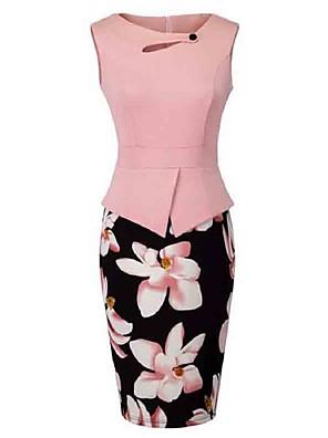 Dámské Vintage Běžné/Denní / Velké velikosti Pouzdro Šaty Květinový,Bez rukávů Kulatý Délka ke kolenům Růžová / Červená / Žlutá Polyester