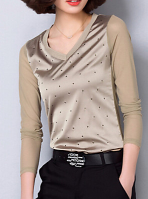 Women's Solid Blue / Red / Black / Brown Blouse , Sweetheart Long Sleeve