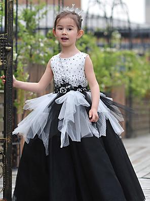 Plesové šaty Na zem Šaty pro květinovou družičku - Tyl / Charmeuse Bez rukávů Klenot s Korálky / Krajka