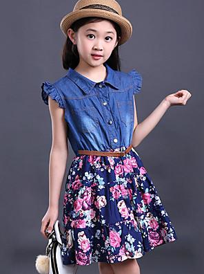 Dívka je Běžné/Denní Tisk Léto Šaty Další Modrá / Vícebrevná