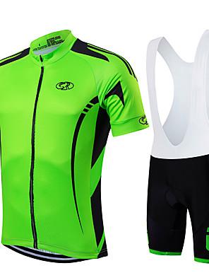 ספורטיבי חולצת ג'רסי ומכנס קצר ביב לרכיבה לגברים / יוניסקס שרוול קצר אופניים נושם / ייבוש מהיר / רוכסן קדמי / לביש / דחיסה מדים בסטים