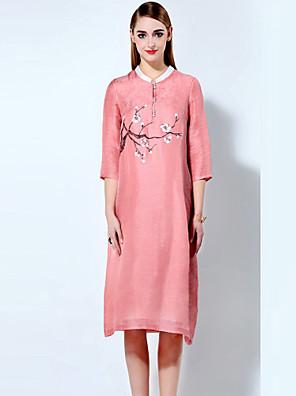 Feminino Solto Vestido, Casual / Tamanhos Grandes Temática Asiática Floral Colarinho Chinês Acima do Joelho Manga ¾ Rosa Algodão Verão