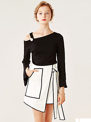 Mulheres Blusa Formal / Trabalho Sensual / Simples Todas as Estações,Sólido Branco / Preto / Cinza Poliéster Assimétrico Manga Longa Fina