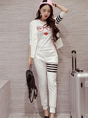 Dames Eenvoudig / Schattig Lente / Herfst Set Pantalon Suits,Sportief Effen / Print Ronde hals Mouwloos Zwart Polyester Ondoorzichtig