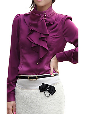 Women's Work Sexy / Punk & Gothic All Seasons Shirt,Solid Stand Long Sleeve White / Brown / Purple Rayon / Polyester Thin