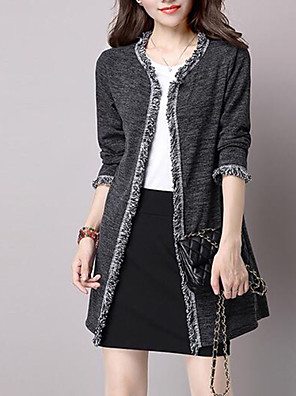 Women's Plus Size / Casual/Daily Street chic Regular Cardigan,Solid Round Neck Long Sleeve Cotton Spring / Fall Medium