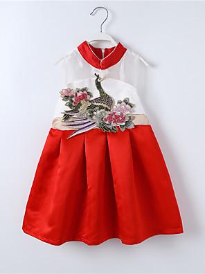 שמלה יום יומי\קז'ואל טלאים כותנה / פוליאסטר קיץ / אביב צבעוני הילדה של