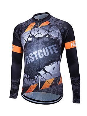 Fastcute® חולצת ג'רסי לרכיבה לנשים / לגברים / יוניסקס שרוול ארוך אופנייםנושם / ייבוש מהיר / רוכסן קדמי / רוכסן YKK / רצועות מחזירי אור /