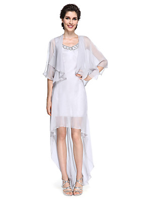 מעטפת \ עמוד שמלה לאם הכלה - אלגנטי א-סימטרי חצי שרוול שיפון - נצנצים
