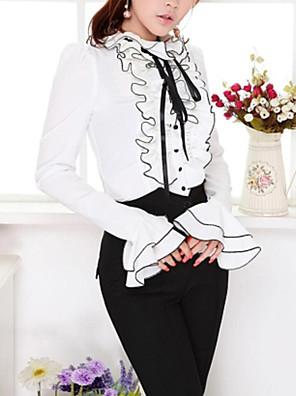 אחיד צווארון רף פשוטה יום יומי\קז'ואל חולצה נשים,אביב / סתיו שרוול ארוך לבן אטום / דק פוליאסטר