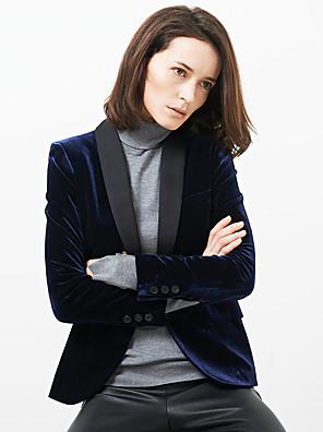 c + zapůsobit ženská práce ročník všechna roční období blazersolid šátek na klopu s dlouhým rukávem modré polyester neprůhledná