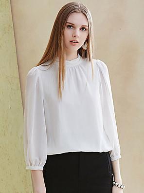 Munka Egyszerű Terített nyak-Női Blúz,Egyszínű Tavaszi / Nyári ¾-es ujjú Fehér Poliészter / Spandex Nem átlátszó