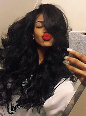 stilfuld midterste del krop bølge hår høj temperatur paryk kulsort farve sorte kvinder naturligt daglige iført
