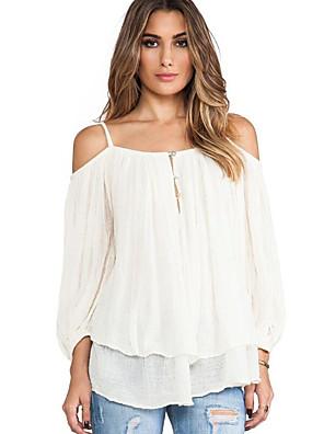 Mulheres Blusa Casual Simples Outono,Sólido Branco Algodão Com Alças Manga Longa Opaca