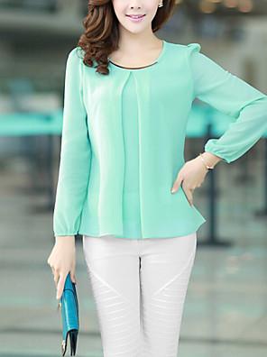 Women's Plus Size White/Black/Green Round Neck Blouse, Chiffon Long Sleeve