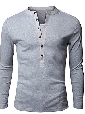 Effen-Informeel / Werk / Grote maten-Heren-Katoen / Rayon-T-shirt-Lange mouw Zwart / Blauw / Groen / Wit / Grijs