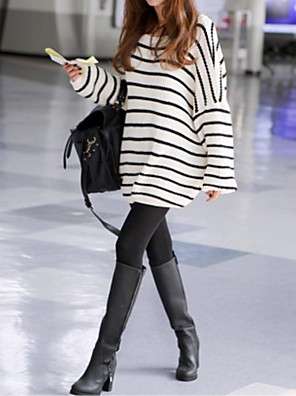 moda e coringa stripe loose camisola quente de maternidade
